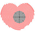 Target on heart silhouette of with Royalty Free Stock Images