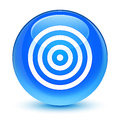 Target icon glassy cyan blue round button Royalty Free Stock Photo
