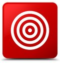 Target icon red square button Royalty Free Stock Photo