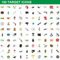 100 target icons set, cartoon style