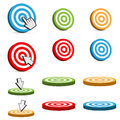 Target icons set of with different colors red blue green yellow orange Royalty Free Stock Photo