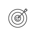 Target line icon, outline vector sign, linear style pictogram isolated on white.