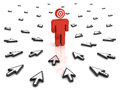 Target man with many arrow cursors aiming at him over white background Royalty Free Stock Photo