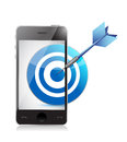Target on mobile phone illustration design over a white background Royalty Free Stock Photos
