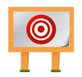 Target placed on wooden boards Stock Photo