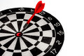 Target point concept image for accuracy to of to show by color of arrow and center of black ang white dartboard Stock Photography
