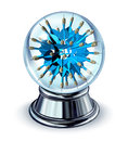 Target predictions and future business strategy forecast as a crystal ball with a group of blue darts going in all directions as a Stock Photo