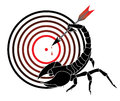 Target and scorpion vector background with shooting mark Royalty Free Stock Image