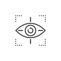 Target symbol icon vector, eye tracking line icon, outline vecto