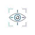 Target symbol icon vector, eye tracking line icon, outline vector logo illustration, linear pictogram isolated on white.