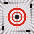 Target symbol practice with and flying bullets on striped background Royalty Free Stock Photo