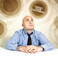 Target your customers business concept businessman looking up Royalty Free Stock Image