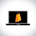 TARGET798_1_/zakupy online używać komputerowego (laptop) Fotografia Royalty Free