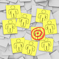 Targeted Customer in Bulls-Eye - Sticky Notes Royalty Free Stock Photography