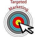 Targeted Marketing pixel cursor clicks bulls eye Royalty Free Stock Photo