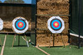 Targets for archery on green grass Stock Photos