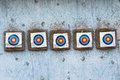 Targets on wall hanged blue Stock Photography
