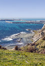 Tarifa coastline with the one beach and the port at the bottom looks vegetation is located in the spanish province of cadiz it s a Royalty Free Stock Photo