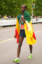 Tariku jufar marathoner ottawa may of ethiopia wins the ottawa marathon on may in ottawa Royalty Free Stock Images