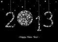Tarjeta de felicitación de la Feliz Año Nuevo 2013. Fotos de archivo libres de regalías