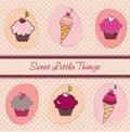 Tarjeta de las magdalenas y de los helados Imagenes de archivo