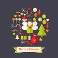 Tarjeta de navidad con los iconos planos fijados y angel dark blue Imagenes de archivo