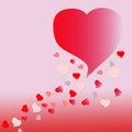 Tarjeta roja del día de tarjetas del día de san valentín del corazón en fondo rosado Fotografía de archivo libre de regalías