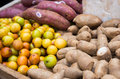 Taro root jujube and cassava root on shelf in thai market street Stock Images