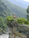 Taroko gorge national park small traditional chinese pavilion among the mountains of taiwan Royalty Free Stock Images