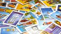 Tarot Cards 78 Cards displayed on a table Royalty Free Stock Photo