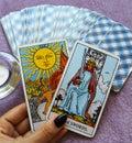 The Sun Tarot Card Life energy vitality joy enlightenment warmth manifestation happiness Royalty Free Stock Photo