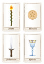 Tarot Cards Elements Pentacles Swords Wands Cups German Royalty Free Stock Photo
