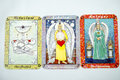 Tarot cards gray background Stock Photos