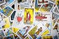 Tarot cards mystical background. Senior card magician. Royalty Free Stock Photo