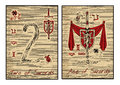 The tarot cards in red. Ace of swords