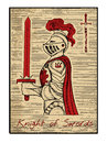 The tarot cards in red. Knight of swords Royalty Free Stock Photo