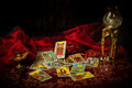 Tarot Cards Spread and scattered on Table Haphazardly Royalty Free Stock Photo
