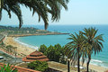 Tarragona beach palm trees and view overlooking Royalty Free Stock Photography