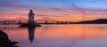 Tarrytown Lighthouse sunset panorama Royalty Free Stock Photo