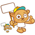 Tarsier mascot the hand is holding a picket animal character de design series Royalty Free Stock Photos