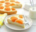 Tart with cheese and apricots Royalty Free Stock Images