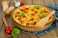 Tart with cheese and cherry tomatoes Royalty Free Stock Photo