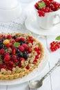 Tart with cream and fresh berries Royalty Free Stock Photo
