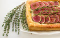 Tart with figs and Camembert Royalty Free Stock Photo