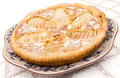 Tart frangipane made with pears and almonds Stock Photo