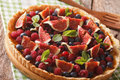 Tart with fresh fruit and berries close up on the table. horizon Royalty Free Stock Photo