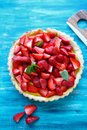 Tart with fresh strawberry top view Royalty Free Stock Image