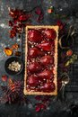 Tart with red wine poached pears Royalty Free Stock Photo