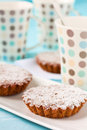 Tart with sugar and cups Royalty Free Stock Image