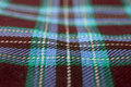 Tartan closeup detail of red and blue checkered fabric Royalty Free Stock Photo